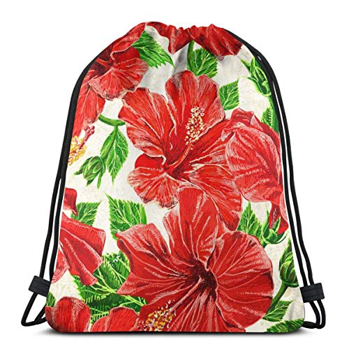 GeorgoaKunk Watercolor Red Hibiscus Unisex Drawstring Bag Gym Dance Backpack