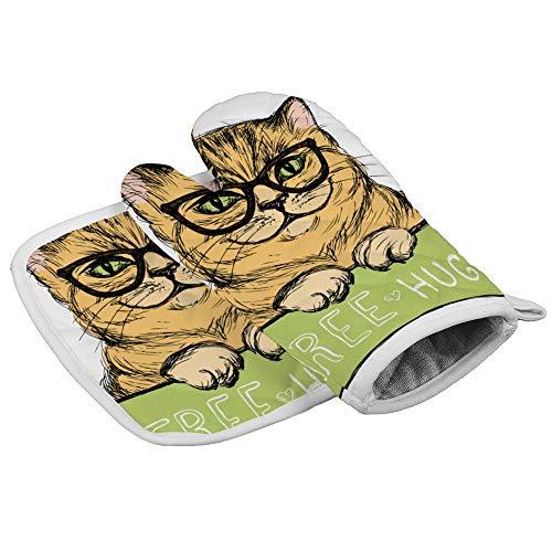 Bearget schattige kat met een teken gratis Hugs Oven wanten en pannenlappen hittebestendige oven Mitt anti-slip handschoenen voor koken bakken grill