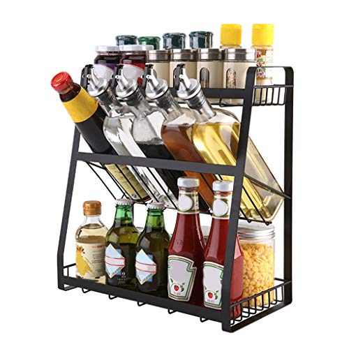 DD-upstep Multi-Functional Spice Rack, Three-Storey Standing Condiment Rack, Kitchen Supplies Collection And Arrangement Shelf Ground Rack, 14.2x7.5x15.7 inch, Black