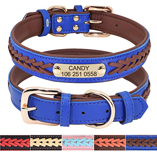 Didog Collier personnalisé en cuir pour chien avec plaque en laiton gravée–Collier en cuir tressé doux rembourré personnalisé–Collier réglable pour animal de compagnie pour chiens de petit moyen grand