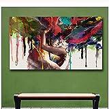Imprimir En Lienzo 30x50cm Sin Marco Wlong Love Kiss pintura al óleo pinturas para la pared de la sala de estar amor cuadros decorativos pared moderna pintura de arte abstracto