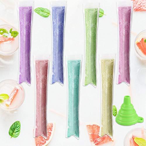 XAVSWRDE 100 Packung Ice Pop Beutel Plastik Ice Pop Taschen BPA Frei Eisform Klar Wassereis Tüten mit 1 Stück Trichter Ice Pop Sleeves für Joghurt, Eis Süßigkeiten Joghurt, Eis Süßigkeiten Freeze Pops