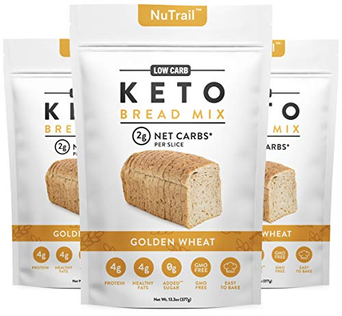 NuTrail™ - Keto Bread Mix - Only 2g Net Carbs per slice - Makes 1 Large Loaf - Low Carb Food - Easy Baking (13.3 oz) (3 Count)