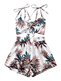 Floerns Women's Tropical 2 Piece Outfits Knot Front Cami Crop Tops and Shorts Set Multicoloured M