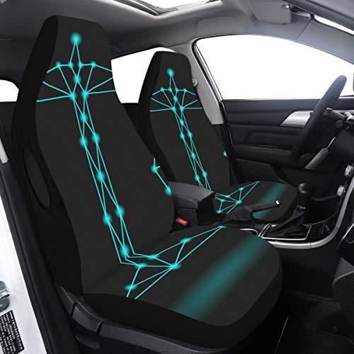 2-teilige Set-Bezüge Sitzwaage Sternzeichen Haltewaage Suv-Sitzbezug Kompatibel mit Airbags Universelle Passform für PKW LKWs und SUVs Sitzbezüge für den Außenbereich