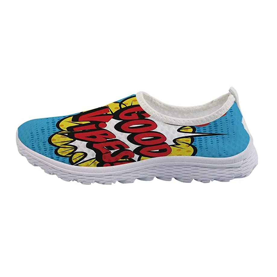 Good Vibes Mesh Sneakers Running Shoes,Pop Art Composition with Speech Bubble Retro Letters Heart Balloons Decorative for Women Girls,US Size 5