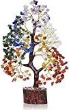 Seven Chakra Natural Healing Gemstone Crystal Bonsai Fortune Money Tree for Good Luck, Wealth & Prosperity Home Office Kitchen Décor Spiritual Gift (Golden Wire and 300 Beads) Size 10-12 Inches