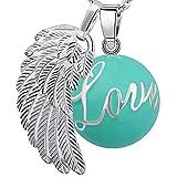 Bola colgante de embarazo armonía alarma bola'ángeles del Marcador' joya musical de maternidad las mujeres embarazadas con cadena de alas de ángel y Bola (114 CM, LOVE-VERT)