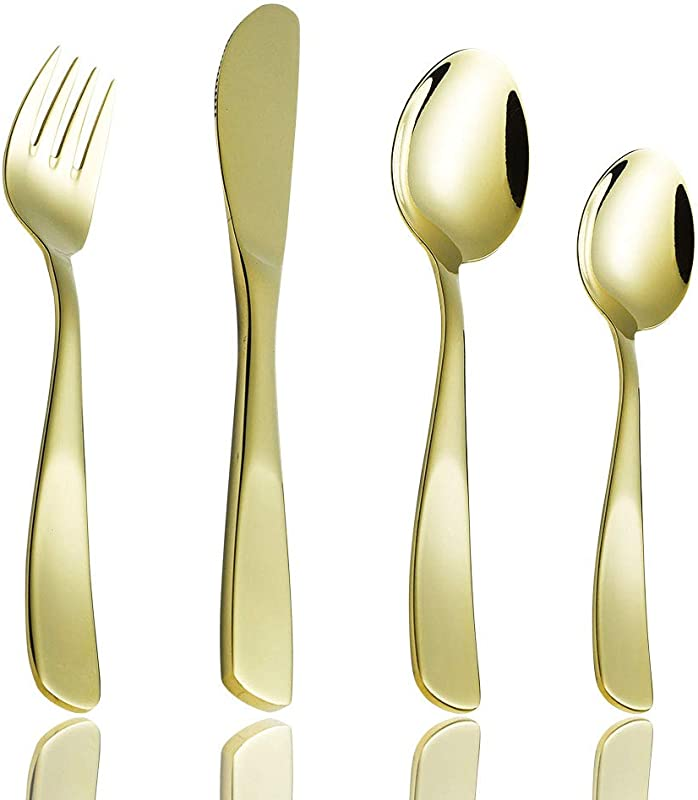 Toddler Utensils Set 12 Piece Children S Silverware 18 10 Stainless Steel Gold Kids Flatware For Self Feeding With 3 Knives 3 Forks 6 Spoons Small Child Training Eating Cutlery Dishwasher Safe