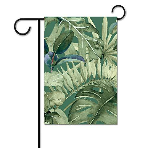 Drapeau de jardin sans marque - Drapeau de bienvenue - Drapeau de plage - Décoration extérieure - Feuilles vertes tropicales hawaïennes - Printemps/été