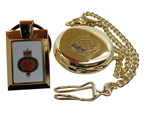 Grenadier Guards Gouden Pocket Horloge en 24 k Clad Sleutelhanger Leger Kreukte Militaire Gegraveerde Volledige Jager en Ketting Crest