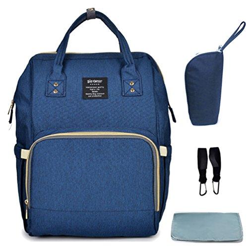 Hiday Set de bolsos para mamá - Bolso para pañales + Colcha para pañales + Bolso isotérmico para biberón + Gancho para carritos de bebé, multifuncional y a la moda.