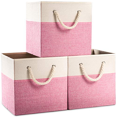 Prandom Large Collapsible Cube Storage Bins 13x13 inch [3-Pack] Fabric Linen Storage Baskets Cubes Drawer with Cotton Handles Organizer for Shelves Toy Nursery Closet Bedroom (Pink)