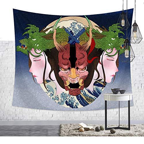 Aquarell - Máscara de pared japonesa Oni, gran ola Fuji Berg Ukiyoe, gran ola delante de Kanagawa, gato, yokai, arte de pared, tapiz, tapiz tradicional, folclore de pared 59 * 51in Pattern1