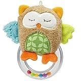 Fehn 071481 Rasselring Eule / Greifling zum Rasseln, Fühlen, Spielen mit kuschelweicher Stoff-Eule, für Babys und Kleinkinder ab 0+ Monaten