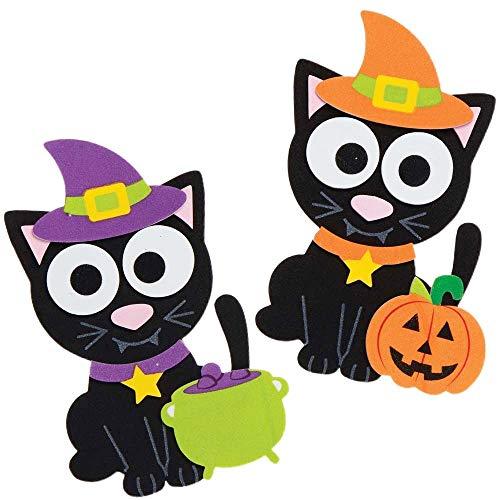 Baker Ross AX222 Halloween Hexen Katze Mix & Match Deko Magnete Bastelset für Kinder - 8 Stück, Saisonale Kreativsets und Bastelbedarf zum Basteln und Dekorieren zur Winterzeit