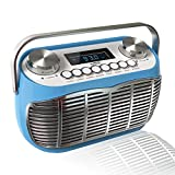 Detroit, FM AM Radio Alarm Clock Bedside Mains Powered Or Battery FM Retro Radio with LCD Display Clock Radio (Blue)