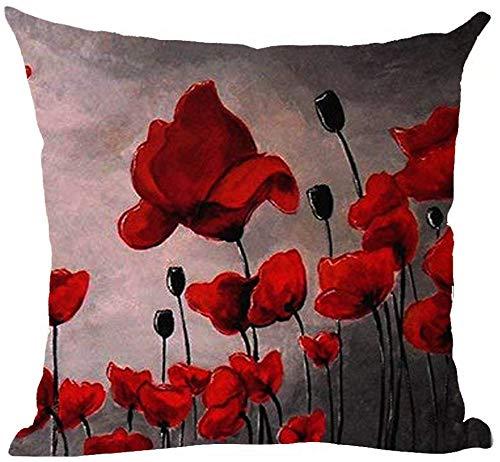 Mesllings - Funda de cojín pintada a mano con diseño de amapola roja, fondo rosa, negro, gris, funda de almohada decorativa para el hogar, sala de estar, cama, sofá, coche, algodón, cuadrado, 45,7 x 45,7 cm