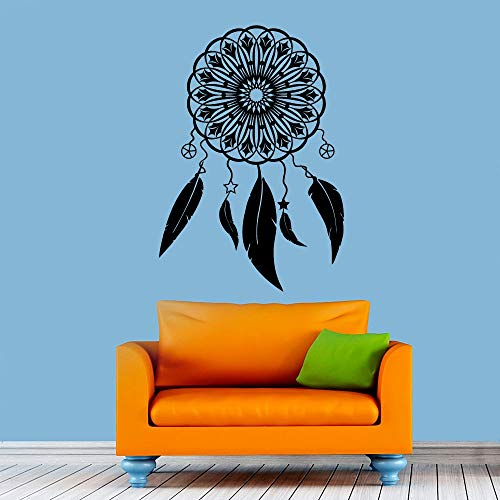 Símbolo de protección arte decoración de la pared pegatina autoadhesiva atrapasueños pluma decoración de la pared pegatina calcomanía A4 61x43 cm