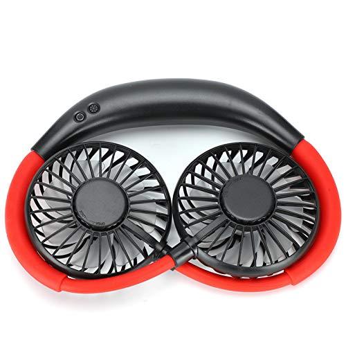SALUTUYA Mini Banda para el Cuello Ventilador USB Colgante Ventiladores LED Recargables de 3 velocidades Funcionamiento con una tecla para Deportes Durante el Verano para Regalos(Black)