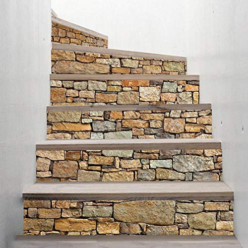 GVRPV Pegatinas para escaleras6 Piezas de Papel Tapiz de PVC Simple de Pegatinas de Escalera de Bricolaje Pegatinas de Paso Pegatinas de Pared