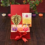 Collectible India Diwali Gift Combo Set - Diwali Decoration Items for Home - Ganesha Wall Hanging, Set of 4 Wax Tealight Candles, Special Greeting Card - Diwali Gifts