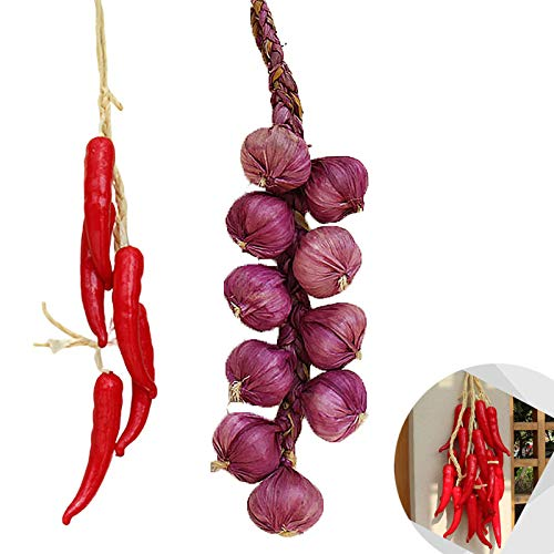 Fälschung Gemüse 2 Stück Künstliche Gemüse Künstliche Knoblauch Dekoration Künstliche Zwiebel Gefälschte Früchte Zwiebel Und Chili String Für Party Festival Zuhause Party Christmas Ernte Dekoration