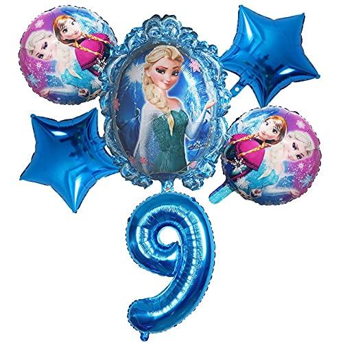 ENXI Globos 6 unids Disney congelado Princesa Elsa Helio Globos número Bola Baby Baby Ducha Decoraciones Globos niños Juguete Fiesta Fiesta de cumpleaños Globos de Aire ( Color : Gold )