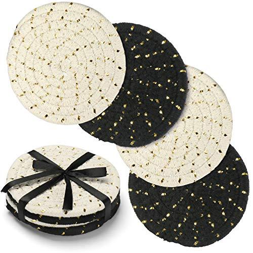 コースターセット ハンドメイド ピュアコットン 糸織り 丸いドリンクバーコースター ギフトパッケージ付き ホットパッド吸収カップマット 4枚セット 4.3インチ 家具を保護 クリスマス ブラック