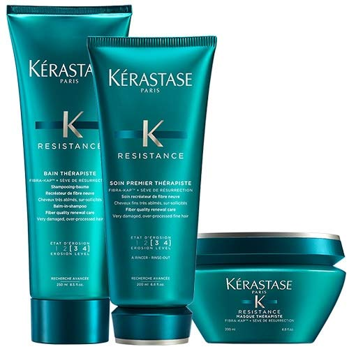 Kerastase Resistance Bain Therapiste Shampoo 250ml, Masque Therapiste 200ml and Soin Premier Therapiste 200ml