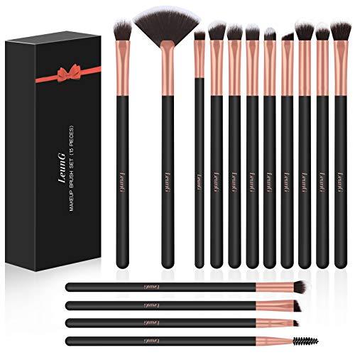 Brochas de Maquillaje LEUNG 15piezas Pinceles de Maquillaje Professional, Para Cara y Ojo Cara Sombra Rubor Contorno los Labios Corrector Brochas (Negro)