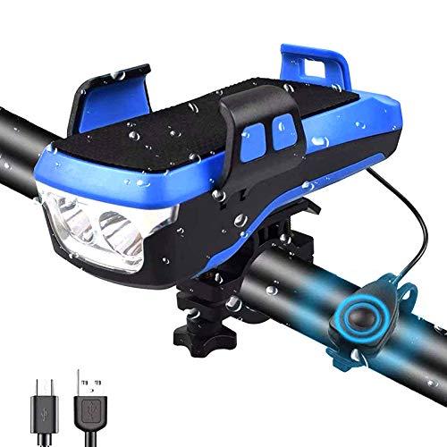 ZLDM 4 in 1 Fahrrad licht, Mit 4000mAh großer Kapazität Ladeschatz DREI Beleuchtungsmodi, Fahrradhupe und Batterieanzeige kein Werkzeug zur Installation von erforderlich Telefon Halter