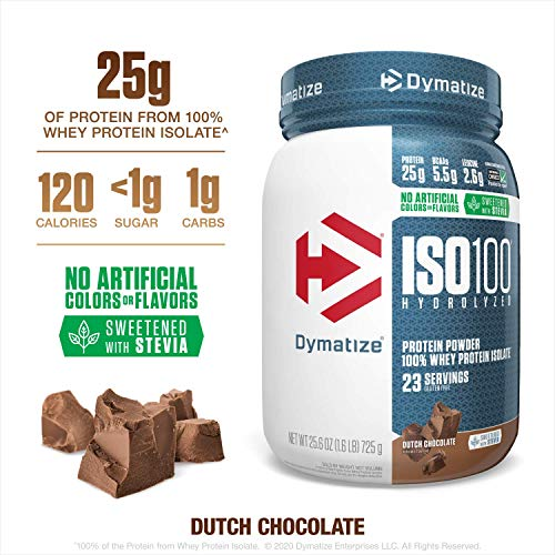 Dymatize ISO100 Hydrolyzed Protein Powder, 100% Whey Isolate Protein, 25g of Protein, 5.5g BCAAs, Gluten Free, Fast Absorbing, Easy Digesting, Dutch Chocolate, 1.6 Pound