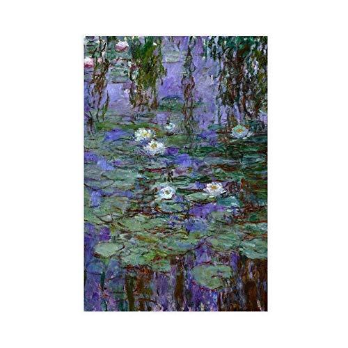 Poster artistico Claude Monet Impressionismo Ninfee 6 poster su tela, decorazione da parete per soggiorno, camera da letto, 30 x 45 cm