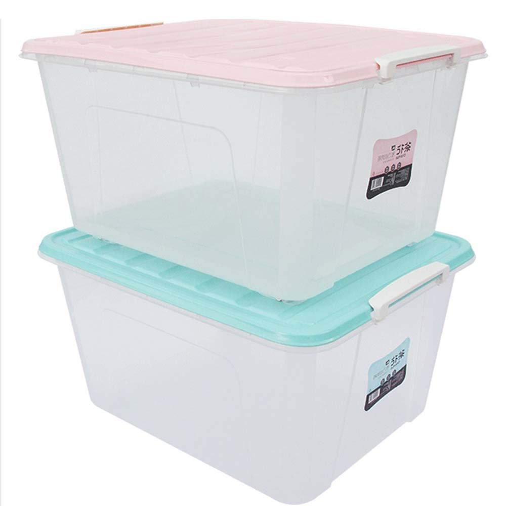 Caja de almacenamiento de plástico grande Cajas de almacenamiento duraderas transparentes con tapas Hogar Escuela Oficina Ropa infantil Cajas de almacenamiento apilables de alimentos cero 86L: Amazon.es: Hogar