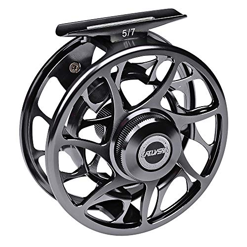 PROBEROS Fly Fishing Reel, CNC Machined Aluminum Large Arbor Alloy Body Fly Reels, 7/9 Weight,Iron-Grey