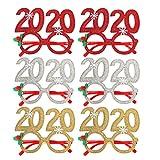 Amosfun 6 pezzi 2020 occhiali da vista novità occhiali da festa per Capodanno occhiali da sole glitter 2020 per 2020 festa di capodanno decori natale