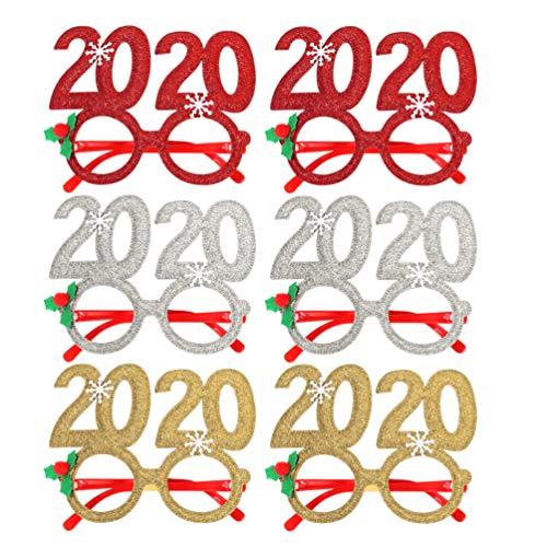 Amosfun 6 Piezas 2020 anteojos de año Nuevo Novedad Gafas de Fiesta de año Nuevo 2020 Gafas de Sol Brillantes para 2020 Decoraciones de Fiesta de Nochevieja Navidad