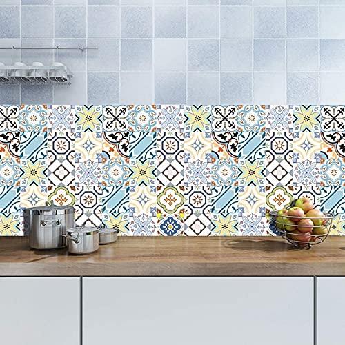 aipipl 12 Piezas de Pegatinas de Pared de Azulejos Azules de Marruecos, baño de Azulejos Adhesivos para baño, 20x20cm