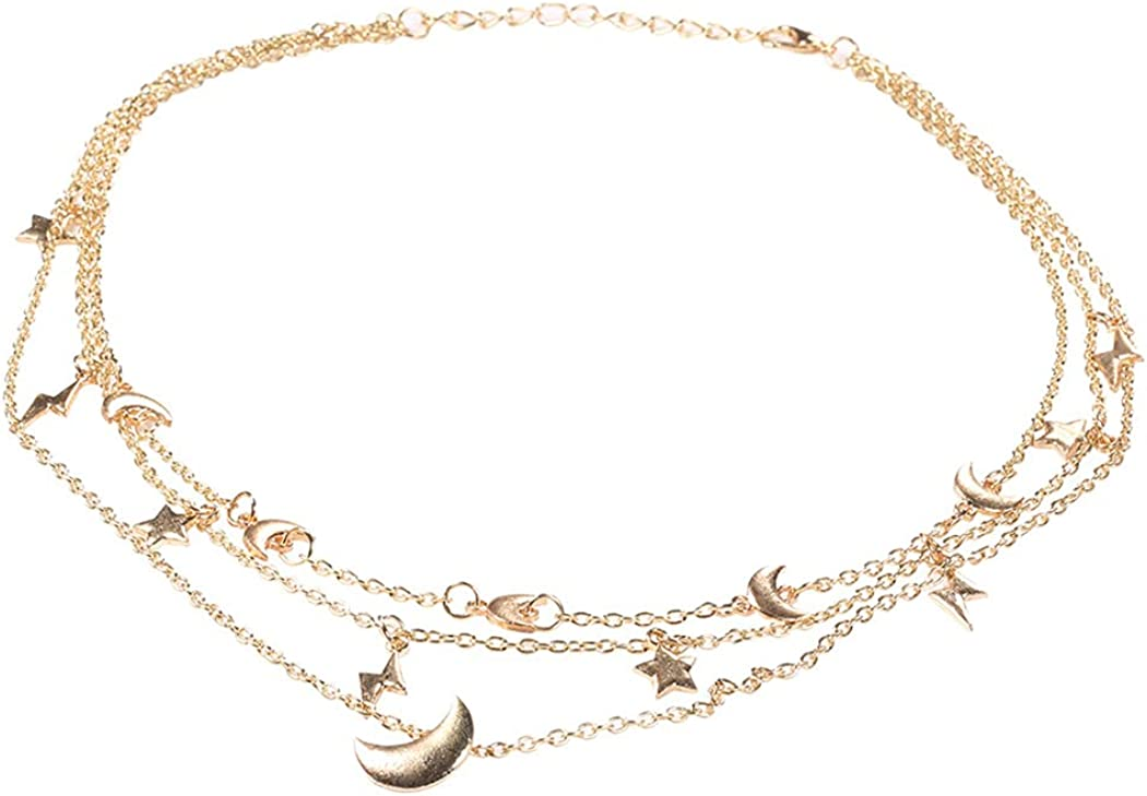 Taktik Layered Necklaces Gold Star Necklace Chain Moon Choker Layering Adjustable Jewelry for Women and Girls