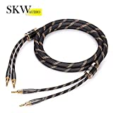 SKW A Pair Audiophile Speaker Cable, Convertible Banana Spade Gold Plated Connector, Nylon Braid, Hifi Quality Cable(3M, 2 Packs for 2 Speakers)