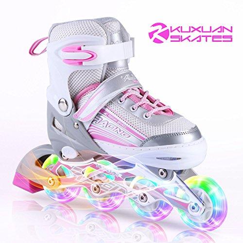 Kuxuan Saya Girls Pink Verstellbare Inline-Skates mit Leuchtenden Rädern - Mittel (32-35 EU)