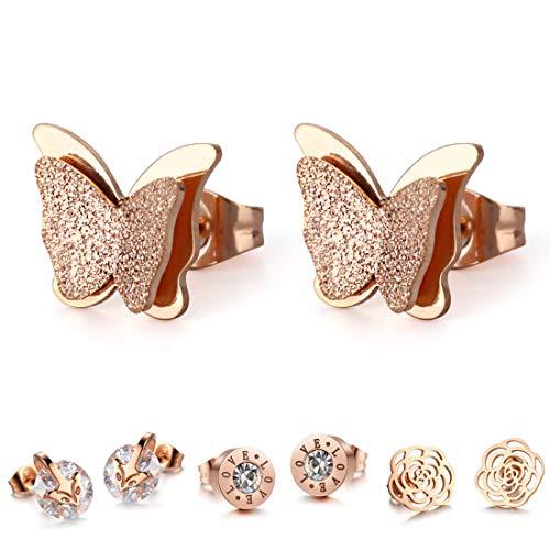 Kim Johanson Damen Ohrringe *15 Designs* aus Edelstahl in Roségold mit Zirkonia Steinchen oder Perlmutt besetzt inkl. Schmuckbeutel (Schmetterling)