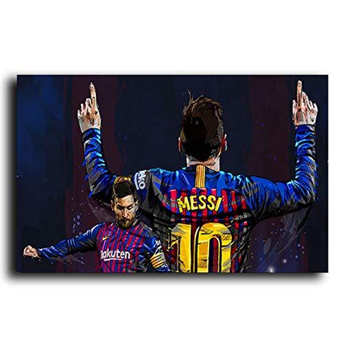Carteles e impresiones de Lionel Messi de la estrella del fútbol, cuadros de lienzo de jugador deportivo, cuadros artísticos de pared para sala de estar, decoración del hogar, 60x90cm sin marco