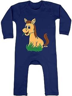HARIZ HARIZ Baby Strampler Süßes Pferd Frisst Gras Süß Tiere Dschungel Plus Geschenkkarte Matrosen Dunkel Blau 6-12 Monate