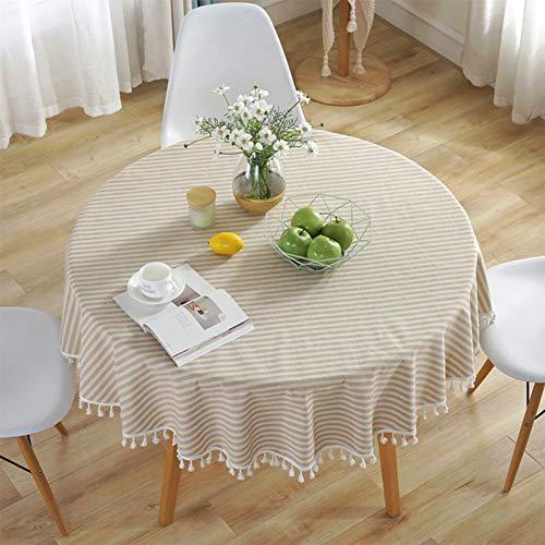 Meiosuns Mantel Redondo Mantel a Rayas Mantel de algodón Simple Uso Interior y al Aire Libre (Diámetro 120cm, Albaricoque/Rayas Blancas)