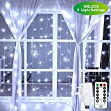 Ollny Curtain Fairy Lights Plug in 306 LEDs 3m x 3m, Bright White Christmas String Lights with 8 Modes Remote Control Mains Powered for Indoor Outdoor Wedding Xmas Bedroom Party Decorations