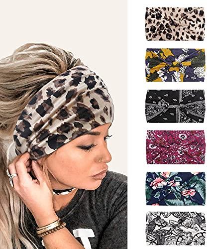 Stirnbänder Damen Frauen Haarreifen Breite Boho Blumendruck Leopard Knot Yoga Sport Haarbänder Elastische Haarschmuck Mehrfarbig WeicheTurbane