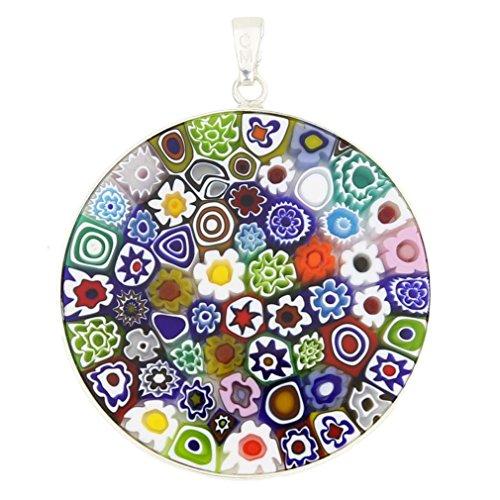 """Glassofvenice """"Multicolor"""" Millefiori-Glas-Anhänger aus Muranoglas in Silber-Einfassung, 2,54 - 1,27 cm Durchmesser"""