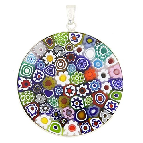 Murano Glas Millefiori Anhänger Halskette Multicolor in Silberrahmen 1-1/2 Zoll für Frauen Handmade In Italy